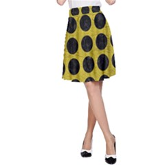 Circles1 Black Marble & Yellow Leather A Line Skirt
