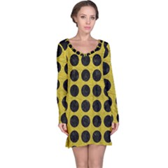 Circles1 Black Marble & Yellow Leather Long Sleeve Nightdress