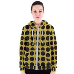 Circles1 Black Marble & Yellow Leather Women s Zipper Hoodie