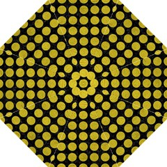 Circles1 Black Marble & Yellow Leather (r) Folding Umbrellas