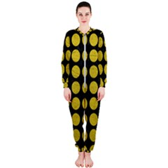 Circles1 Black Marble & Yellow Leather (r) Onepiece Jumpsuit (ladies)