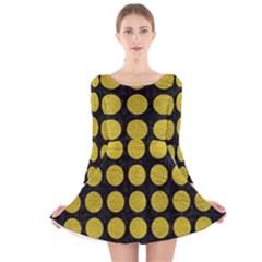 Circles1 Black Marble & Yellow Leather (r) Long Sleeve Velvet Skater Dress