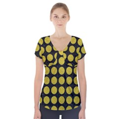 Circles1 Black Marble & Yellow Leather (r) Short Sleeve Front Detail Top