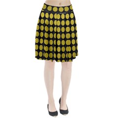 Circles1 Black Marble & Yellow Leather (r) Pleated Skirt