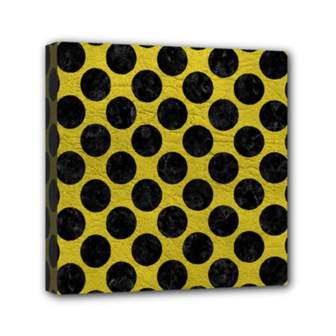 Circles2 Black Marble & Yellow Leather Mini Canvas 6  X 6
