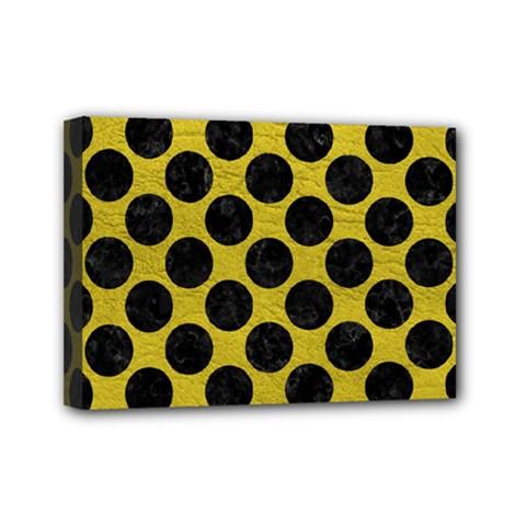 Circles2 Black Marble & Yellow Leather Mini Canvas 7  X 5
