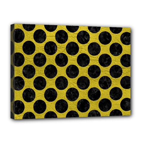 Circles2 Black Marble & Yellow Leather Canvas 16  X 12