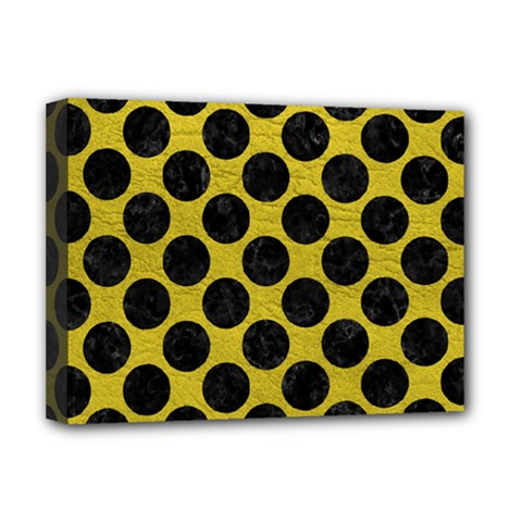 Circles2 Black Marble & Yellow Leather Deluxe Canvas 16  X 12