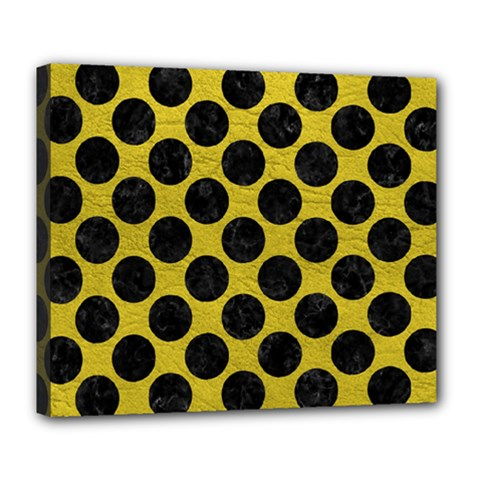 Circles2 Black Marble & Yellow Leather Deluxe Canvas 24  X 20