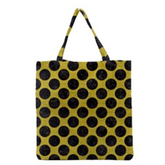 Circles2 Black Marble & Yellow Leather Grocery Tote Bag