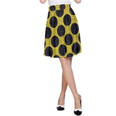 Circles2 Black Marble & Yellow Leather A Line Skirt