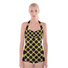Circles2 Black Marble & Yellow Leather Boyleg Halter Swimsuit