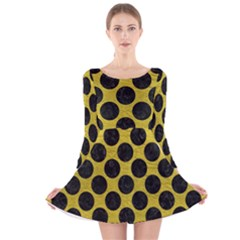 Circles2 Black Marble & Yellow Leather Long Sleeve Velvet Skater Dress