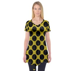 Circles2 Black Marble & Yellow Leather Short Sleeve Tunic