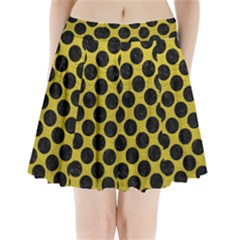 Circles2 Black Marble & Yellow Leather Pleated Mini Skirt