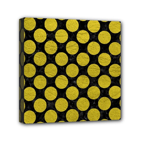 Circles2 Black Marble & Yellow Leather (r) Mini Canvas 6  X 6