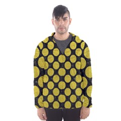 Circles2 Black Marble & Yellow Leather (r) Hooded Wind Breaker (men)