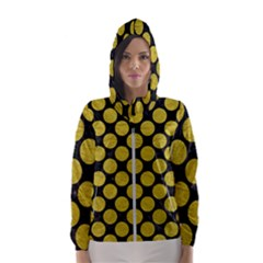 Circles2 Black Marble & Yellow Leather (r) Hooded Wind Breaker (women)
