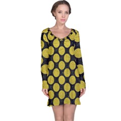 Circles2 Black Marble & Yellow Leather (r) Long Sleeve Nightdress