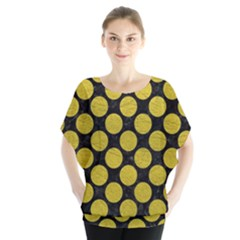 Circles2 Black Marble & Yellow Leather (r) Blouse