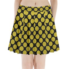 Circles2 Black Marble & Yellow Leather (r) Pleated Mini Skirt
