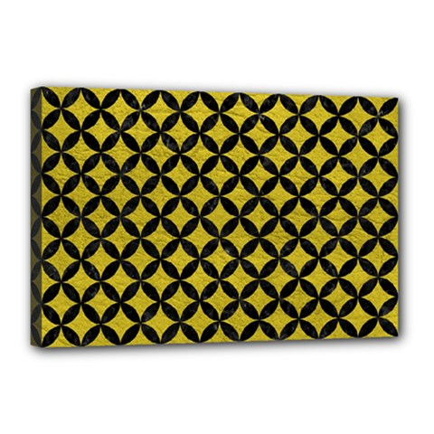 Circles3 Black Marble & Yellow Leather Canvas 18  X 12