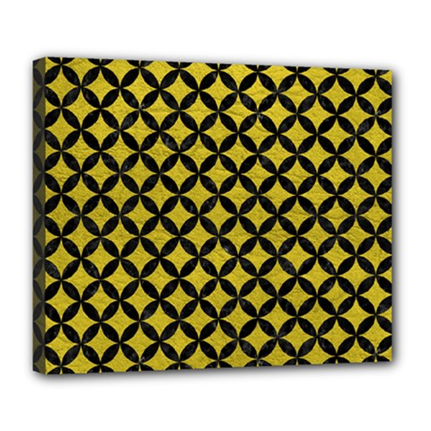 Circles3 Black Marble & Yellow Leather Deluxe Canvas 24  X 20