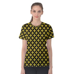Circles3 Black Marble & Yellow Leather Women s Cotton Tee