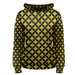 Circles3 Black Marble & Yellow Leather Women s Pullover Hoodie