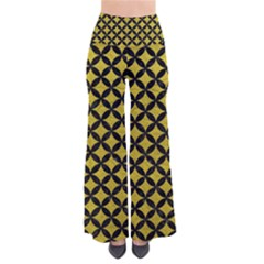 Circles3 Black Marble & Yellow Leather Pants
