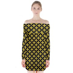 Circles3 Black Marble & Yellow Leather Long Sleeve Off Shoulder Dress