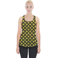 Circles3 Black Marble & Yellow Leather Piece Up Tank Top