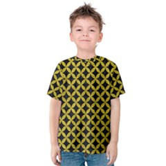 Circles3 Black Marble & Yellow Leather (r) Kids  Cotton Tee