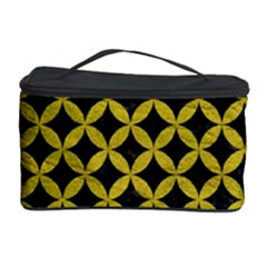 Circles3 Black Marble & Yellow Leather (r) Cosmetic Storage Case