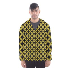 Circles3 Black Marble & Yellow Leather (r) Hooded Wind Breaker (men)