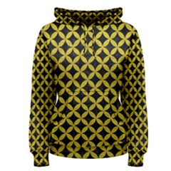 Circles3 Black Marble & Yellow Leather (r) Women s Pullover Hoodie