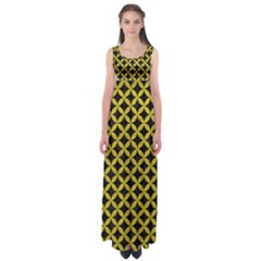 Circles3 Black Marble & Yellow Leather (r) Empire Waist Maxi Dress