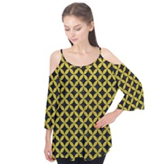 Circles3 Black Marble & Yellow Leather (r) Flutter Tees