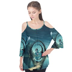 Cute Fairy Dancing On The Moon Flutter Tees
