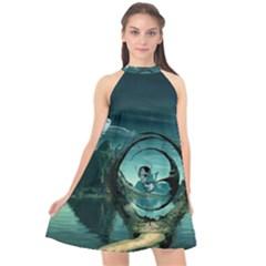 Cute Fairy Dancing On The Moon Halter Neckline Chiffon Dress
