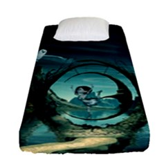 Cute Fairy Dancing On The Moon Fitted Sheet (single Size)