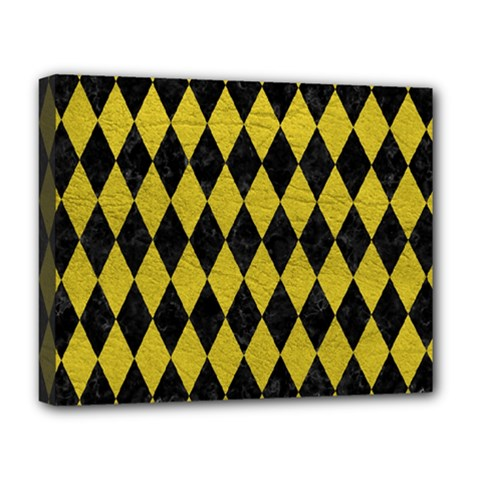 Diamond1 Black Marble & Yellow Leather Deluxe Canvas 20  X 16