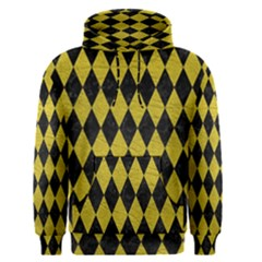 Diamond1 Black Marble & Yellow Leather Men s Pullover Hoodie