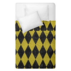 Diamond1 Black Marble & Yellow Leather Duvet Cover Double Side (single Size)