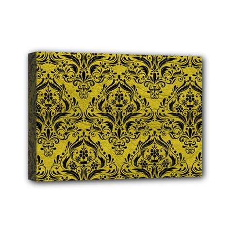 Damask1 Black Marble & Yellow Leather Mini Canvas 7  X 5