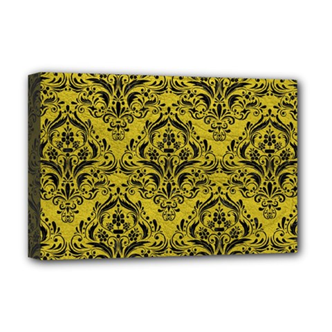 Damask1 Black Marble & Yellow Leather Deluxe Canvas 18  X 12