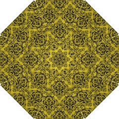 Damask1 Black Marble & Yellow Leather Hook Handle Umbrellas (small)