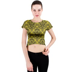 Damask1 Black Marble & Yellow Leather Crew Neck Crop Top
