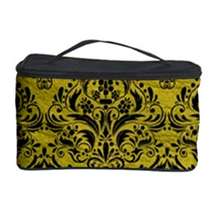 Damask1 Black Marble & Yellow Leather Cosmetic Storage Case