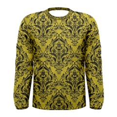 Damask1 Black Marble & Yellow Leather Men s Long Sleeve Tee